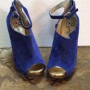 Seychelles BLUE chunk heel gold trim shoes